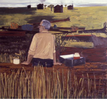 Dona Nelson - <i>Surveyor's Lunch</i>, 1981-1982. Oil on canvas, 78 x 78 in.