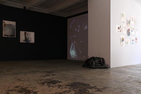 Looped and Layered – Contemporary Art from Tehran - Installation view, west and north wall: Siamak Filizadeh, Barbad Golshiri, Bita Fayyazi, Ala Dehghan.