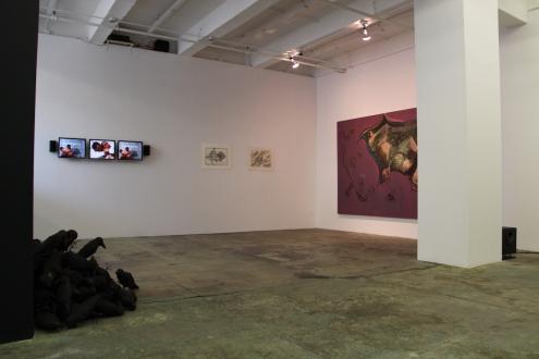 Looped and Layered – Contemporary Art from Tehran - Installation view, east and south wall: Bita Fayyazi, Sadegh Tirafkan, Farshid Maleki, Rokni Haerizadeh.