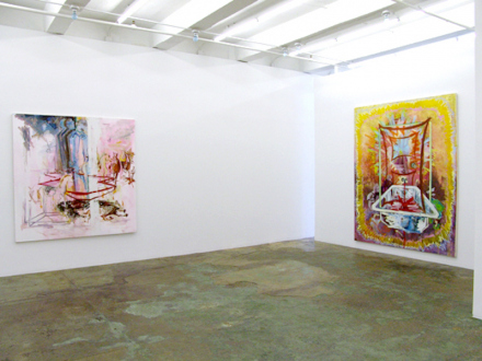 """Shanna Waddell – """"Misshapen Chaos of Well-seeming Forms!"""" - Haeri Yoo Pet Holder, 2006. Mixed media on canvas, 48 x 24 in."""