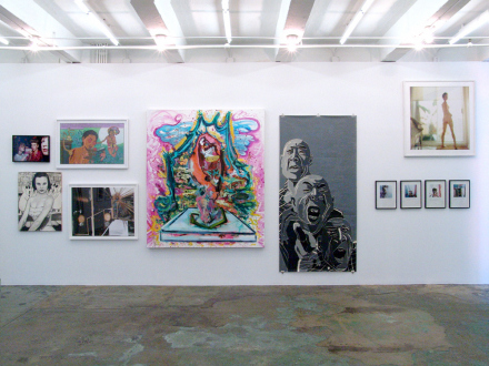 15 Years Thomas Erben - Installation view, east wall (from left): Tom Wood, Jenny Scobel, Chitra Ganesh, Yamini Nayar, Shanna Waddell, Fang Lijun, Oladélé Bamgboyé, Sarah Rossiter.