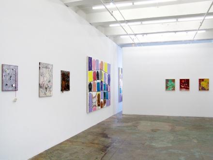 of certain instability – Whitney Claflin, Harriet Korman, Nolan Simon, Hans-Peter Thomas aka Bara - Installation view, West and North wall: Whitney Claflin, Bara, Nolan Simon.