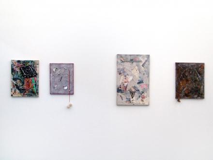 of certain instability – Whitney Claflin, Harriet Korman, Nolan Simon, Hans-Peter Thomas aka Bara - Installation view, West wall: Whitney Claflin.