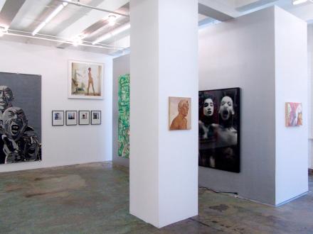15 Years Thomas Erben - Installation view, east and north wall (from left): Fang Lijun, Oladélé Bamgboyé, Sarah Rossiter, Jutta Koether, Vincent Geyskens, Lyle Ashton Harris, Seth Edenbaum.