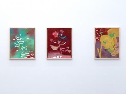 of certain instability – Whitney Claflin, Harriet Korman, Nolan Simon, Hans-Peter Thomas aka Bara - Installation view, North wall: Nolan Simon.