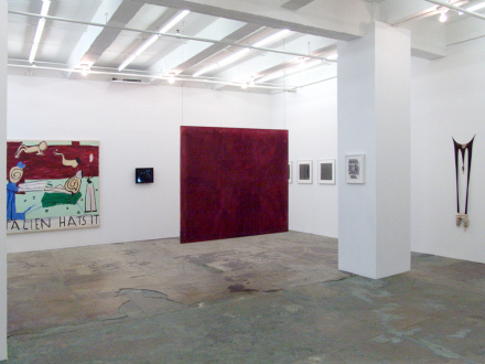 15 Years Thomas Erben - Installation view, west and south wall (from left): Rose Wylie, Barbad Golshiri, Dona Nelson, Adrian Piper, Raha Raissnia, Senga Nengudi.