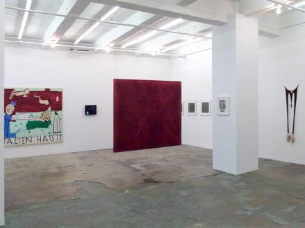 15 Years Thomas Erben - Installation view, west and south wall (from left): Rose Wylie, Barbad Golshiri, Dona Nelson, Adrian Piper, Raha Raissnia, Senga Nengudi.