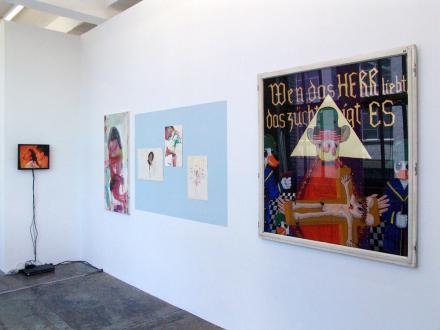 15 Years Thomas Erben - Installation view, project space (from left): Tejal Shah, Haeri Yoo, Ala Dehghan, Blalla Hallmann.