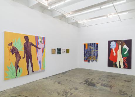 Los Angeles Bound – Diedrick Brackens, Thomas Lawson, Tiffany Livingston, Mark Roeder - Installation view: south and east walls