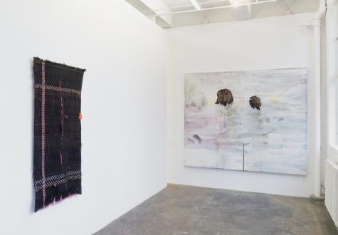Los Angeles Bound – Diedrick Brackens, Thomas Lawson, Tiffany Livingston, Mark Roeder - Installations view: viewing area
