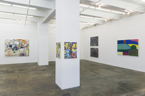 Painting in due time – Scott Anderson, Lydia Dona, Denzil Hurley, Harriet Korman, Hanneline Røgeberg, Marcus Weber - Installation view: West and South walls