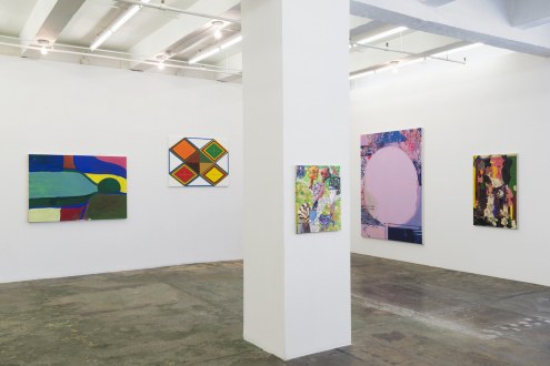 Painting in due time – Scott Anderson, Lydia Dona, Denzil Hurley, Harriet Korman, Hanneline Røgeberg, Marcus Weber - Installation view: West and North walls