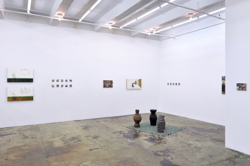 are you dead, yet? – Horst Ademeit, Jason Eberspeaker, Kahlil Robert Irving, Mira Schor - Installation view: east and south walls