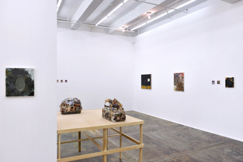 are you dead, yet? – Horst Ademeit, Jason Eberspeaker, Kahlil Robert Irving, Mira Schor - Installation view: north and west walls