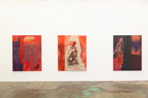 Jackie Gendel – Stained Glass Cliff - west wall, installation view.