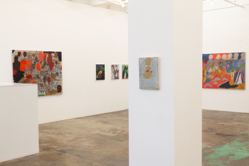 Jackie Gendel – Stained Glass Cliff - south and east walls, installation view.
