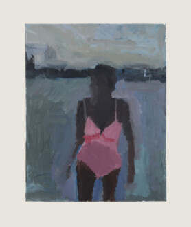 Pink Bathing Suit - <i>Pink Bathing Suit #2</i>, 2015. Oil on canvas, 14 x 11 in.