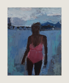 Pink Bathing Suit - <i>Pink Bathing Suit #3</i>, 2016. Oil on canvas, 14 x 11 in.