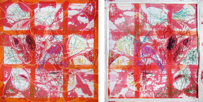 Dona Nelson – Double sided paintings - <i>String Beings</i>, 2013. Painted string and acrylic on canvas, 80 × 79 in.