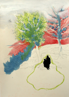 Looped and Layered – Contemporary Art from Tehran - Ala Dehghan The Complete Scenery, 2008. Mixed media on paper, 16 x 11.5 in.