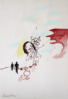Ala Dehghan I Can Explain Everything - Ala Dehghan, <i>My Mother and Clouds</i>, 2009. Mixed media on paper, 50 x 35 cm.