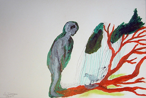 Ala Dehghan I Can Explain Everything - Ala Dehghan, <i>Shaping the Fire</i>, 2009. Mixed media on paper, 35 x 50 cm.