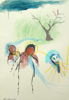 Ala Dehghan I Can Explain Everything - Ala Dehghan, <i>The Blond Prophet</i>, 2009. Mixed media on paper, 50 x 35 cm.