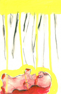 Ala Dehghan – I Can Explain Everything - Ala Dehghan, from series: The White Rope, 2009. Mixed media on paper, 24.5 x 16 cm.
