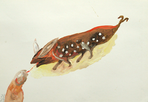 Ala Dehghan – I Can Explain Everything - Ala Dehghan, from series: Unnamed Animals, 2009. Mixed media on paper, 35 x 50 cm.
