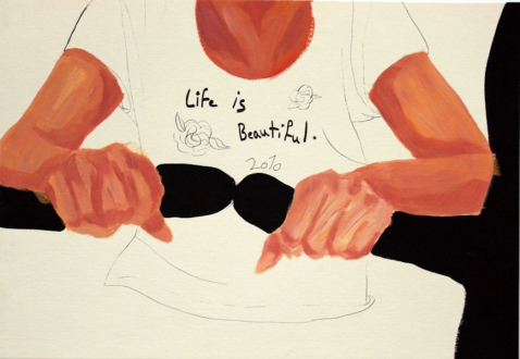 Ala Dehghan – I Can Explain Everything - Ala Dehghan Life Is Beautiful, 2010. Mixed media on paper, 27.5 x 19.5 cm.