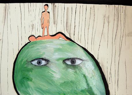 Ala Dehghan – I Can Explain Everything - Ala Dehghan Se on a Spy's Head, 2010. Mixed media on paper, 19.5 x 27.5 cm.
