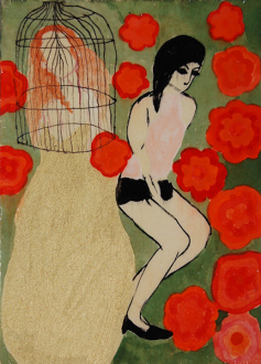 Ala Dehghan – I Can Explain Everything - Ala Dehghan Turning into Red Flowers, 2010. Mixed media on paper, 18 x 13 cm.