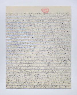 Her Bone - <i>Pink Betsy Blue</i>, 1972. Graphite, colored pencil and mylar on rag paper, 26 1/4 x 21 in.