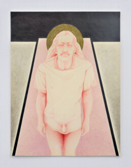 Her Bone - <I>Man From North River II</I> (triptych). Prisma colored pencil and graphite,  13 1/4 x 10 in.