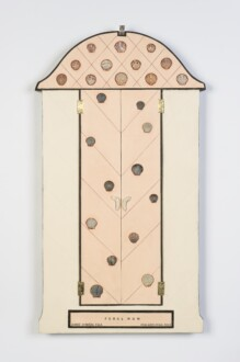 Her Bone - <i>Feral Nun</i> (closed view), 2013. Oil on wood, shells and found objects, 39 x 19 in. Courtesy of Robert and Frances Coulborn Kohler collection.
