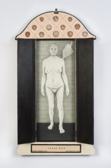 Her Bone - <i>Feral Nun</i> (open view), 2013. Oil on wood, shells and found objects, 39 x 19 in.