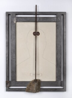 Her Bone - <i>Lady Veep</I>, 2020. Oil on wood, graphite, fruit pits, metal rod, found material, and drift wood, 26 x 18 in.