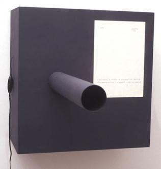 Andrej Monastyrskij, Dona Nelson, Vargas-Suarez Universal, Tom Wood - Andrej Monastyrskij Canon, 1975/1999. Wood, cardboard and electric bell, 21 x 21 x 29 in, ed. of 10 (+ 2 AP).