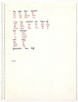 Adrian Piper – Early Drawings and Other Works - Adrian Piper Drawings about Papers and Writing about Words #39, 1967. Colored ink on paper, 11 x 8.5 in.
