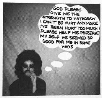 Adrian Piper – The Mythic Being, 1972-1975 - Adrian Piper: Study for Village Voice ad, God Please Give Me Strength, 1973. Felt tip pen on B/W photograph, 2.5 x 2.625 in.