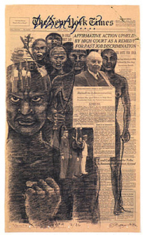 Adrian Piper – Early Drawings and Other Works - Adrian Piper Vanilla Nightmares #9, 1986. Charcoal and oil crayon drawing on New York Times page, 22 x 13.75 in.