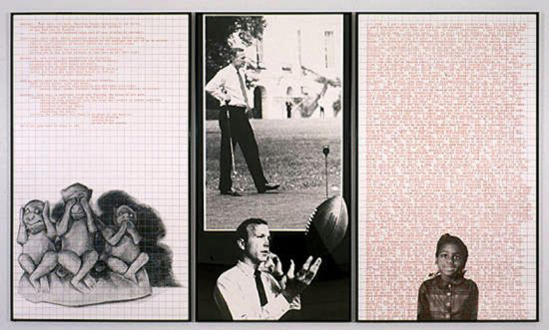 Adrian Piper – Early Drawings and Other Works - Adrian Piper Decide Who You Are #18: Hardball, 1992. Left panel: silkscreened drawing, graph paper and text; center panel: enlarged photograph; right panel: silkscreened photograph, graph paper and repeating text, 72 x 126 in over all.