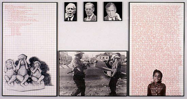 Adrian Piper – Early Drawings and Other Works - Adrian Piper Decide Who You Are #19: Torch Song Alert, 1992. Left panel: silkscreened drawing, graph paper and text; 4 center panels: enlarged photographs; right panel: silkscreened photograph, graph paper and repeating text, 72 x 142 in over all.