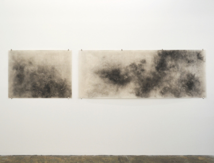 Aiditi Singh – All that is left behind - Aditi Singh, Untitled, 2013-15, Graphite on parchment paper (diptych), 36 x 146 in.