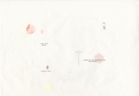 Soft Haze – Xinyi Cheng, Nabuqi, Ali Van - Ali Van, 895/1000* (of lungs –milk –stars), 2015. Type & pigment on gifted sumi-e paper, 12 x 17 in.