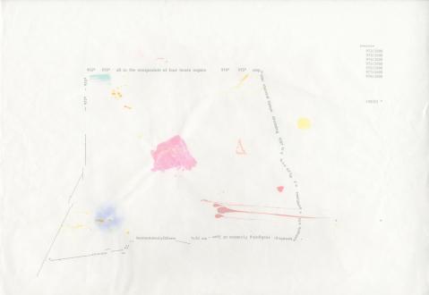 Soft Haze – Xinyi Cheng, Nabuqi, Ali Van - Ali Van, 972-978/1000* (of lungs –milk –stars), 2015. Type & pigment on gifted sumi-e paper, 12 x 17 in.