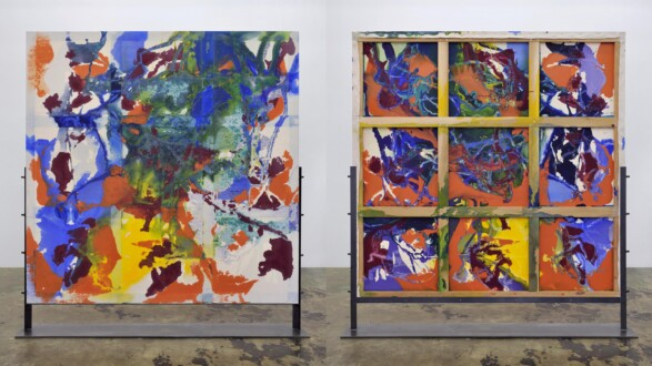 Dona Nelson – Double sided paintings - <i>And the Sun Came Up</i>, 2019. Acrylic and acrylic medium on canvas, 80 × 80 in.