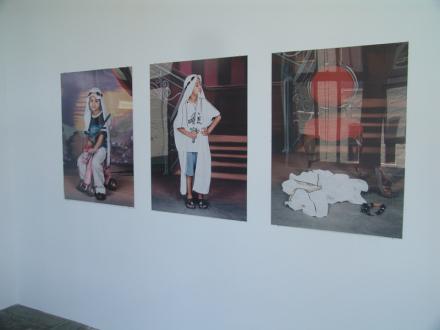 Contemporary Art from Pakistan – Huma Mulji, Bani Abidi, Naiza Khan, Hamra Abbas, Rashid Rana, Mahbub Shah, Zahoor Ul Akhlaq, Muhammad Zeeshan - Bani Abidi: The Boy Who Got Tired of Posing, 2007. C-print, triptych, edition of 10, 40 x 29.5 in. each.
