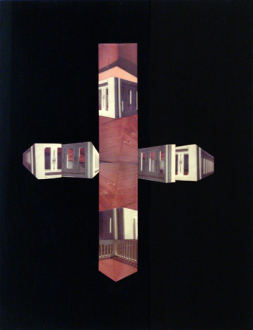 Barry Gerson – The Parting of the Clouds - Porch Enigma #2, 1983. Nimslo 3D photographic construction on Plexiglas, 30 x 23 in.