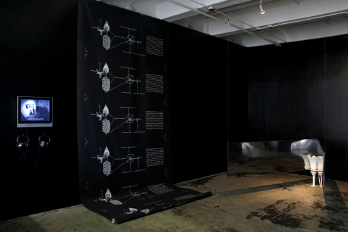 Nothing Is Left to Tell - Installation view: The Distribution of the Sacred System (leftand center) and Narcissus Echoes (right).